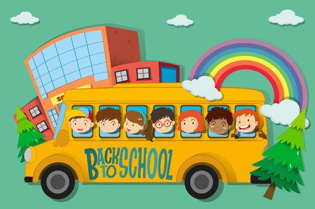 happy children: Children riding on school bus illustration Illustration