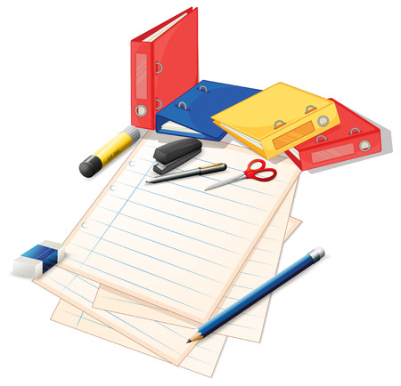 office supplies: Papers and other office supplies illustration