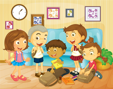 room mate: Boys and girls packing bags in the room illustration Illustration