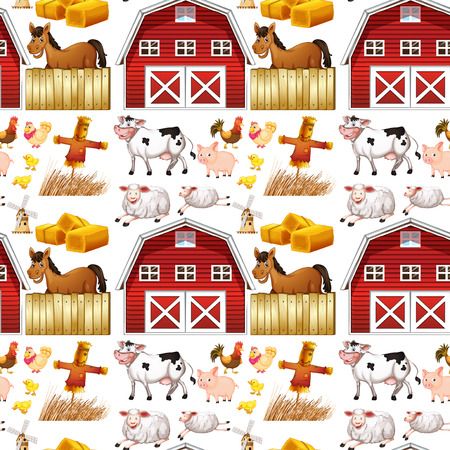 red barn: Seamless farm animals and red barn illustration