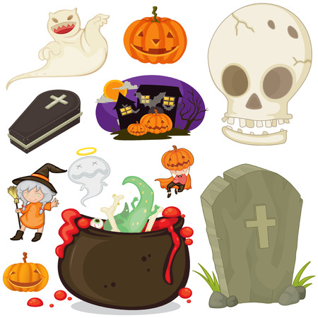 white house: Halloween theme with different objects illustration