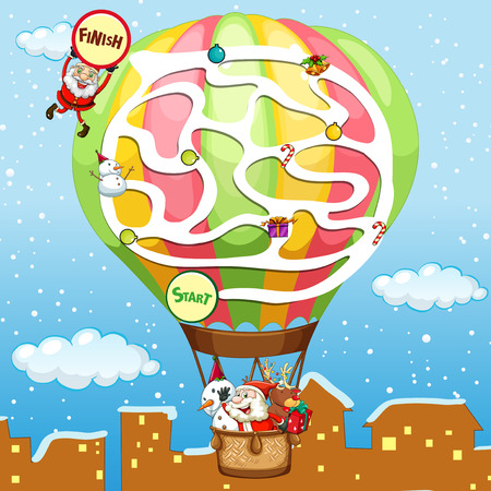 Puzzle game template with Santa on balloon illustration