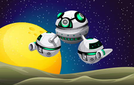 alien cartoon: Round spaceship floating in the space illustration