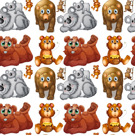 cubs: Seamless grizzly bears and cubs illustration Illustration
