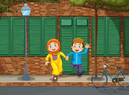 couple holding hands: Muslim couple holding hands illustration Illustration