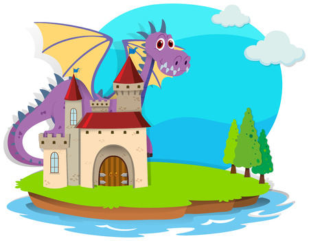 fantacy: Castle and dragon on the island illustration Illustration