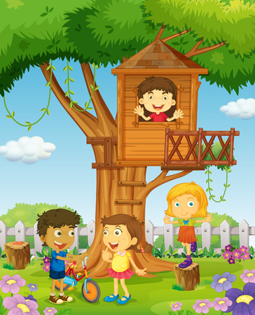 Children riding and playing in the park illustration