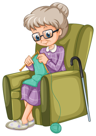 armchair: Old lady knitting on the chair illustration Illustration