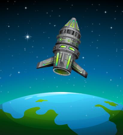 fantasy alien: Spaceship floating in the dark space illustration