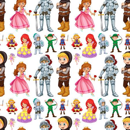 Naadloos sprookjes personages met prins en prinses illustratie