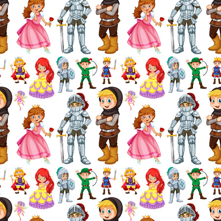 fictional character: Seamless fairytales characters with prince and princess illustration