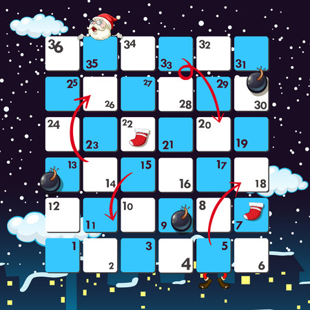 entertaining: Boardgame template with santa at night illustration