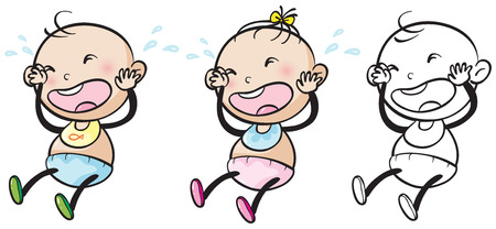 baby facial expressions: Baby girl and boy crying illustration