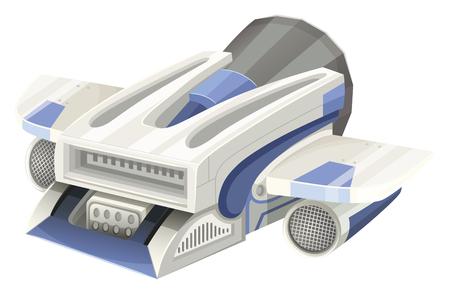 unidentified: Modern spaceship flying on white background illustration Illustration
