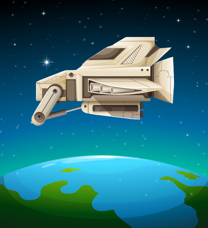unidentified: Spaceship flying over the world illustration