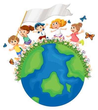 Bambini che corrono intorno alla terra con illustrazione di bandiera Vettoriali