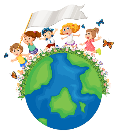 Bambini che corrono intorno alla terra con illustrazione di bandiera