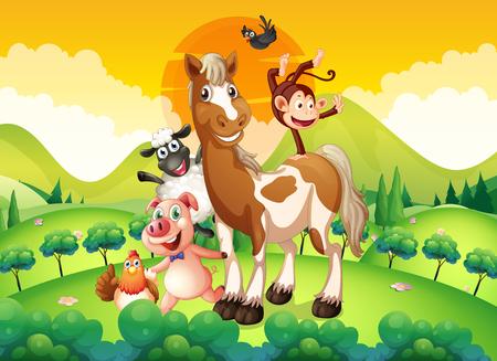 tropical tree: Farm animals in the field illustration Illustration