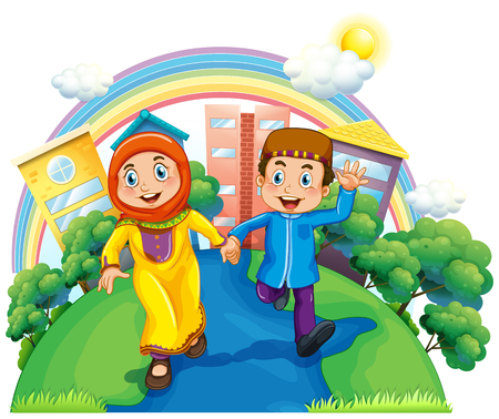 couple holding hands: Muslim couple holding hands illustration Illustration
