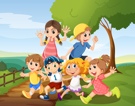 daytime: Children playing in the park at daytime illustration Illustration