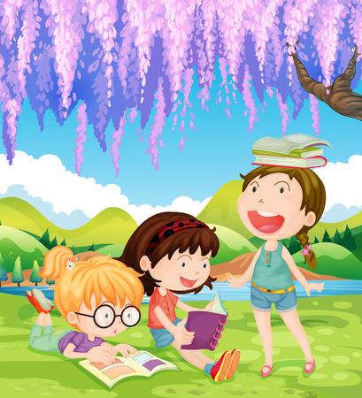 daytime: Girls reading books in the park at daytime illustration