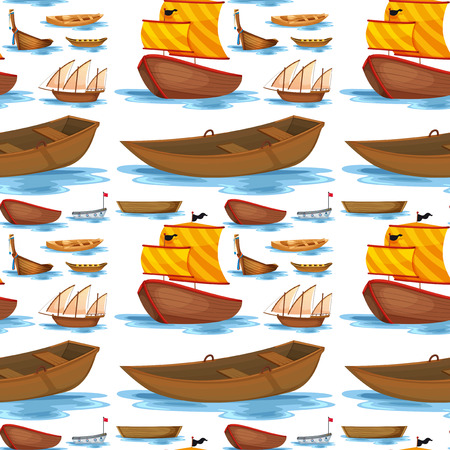 watercraft: Seamless ships and boats illustration