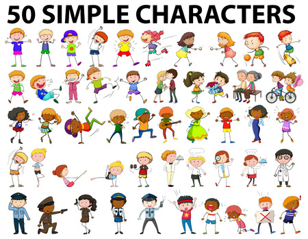 kids playing: Fifty simple characters young and old illustration
