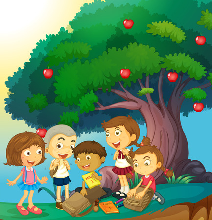 cartoon kid: Children hanging out under the apple tree illustration