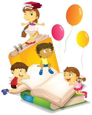 Kinder, die Spaß mit großen Bücher Illustration Standard-Bild - 50692199