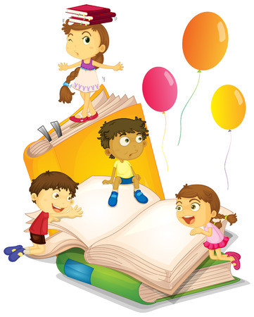 Children having fun with big books illustration