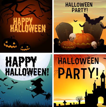 design house: Four happy halloween poster design illustration Illustration