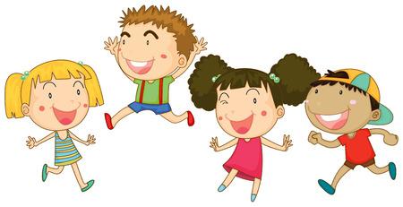 carita feliz: Cuatro niños con la cara feliz ilustración