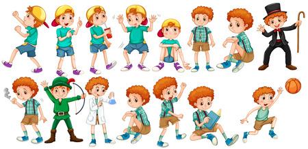 Jongens doen verschillende acties illustratie