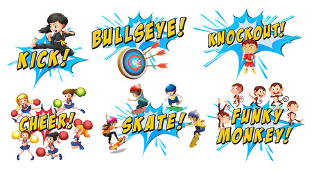 wordings: Different word design on splash illustration Illustration