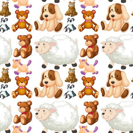 Seamless different kind of stuffed animals  illustration Illustration