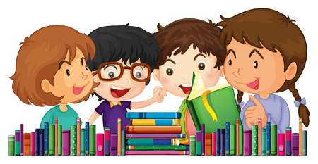 Children with many books illustration Ilustrace