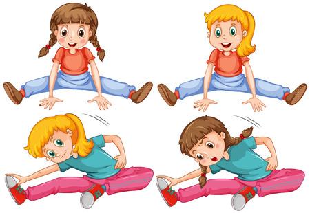 stretching: Girls stretching her legs illustration