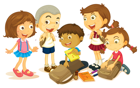 small group of object: Boys and girls packing schoolbag illustration