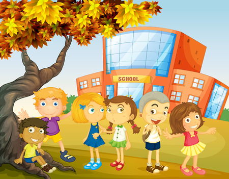 college students campus: Children hanging out at the school campus illustration