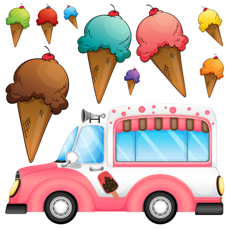 white truck: Different flavor ice cream and a truck illustration Illustration