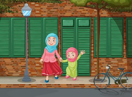 girls holding hands: Muslim girls holding hands on the sidewalk illustration Illustration