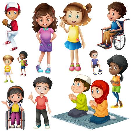 petite fille musulmane: Garçons et filles faire des activités différentes illustrations