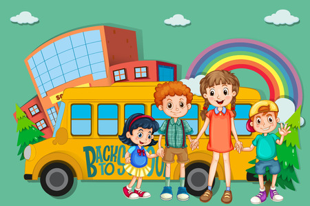 art school: Children and school bus illustration