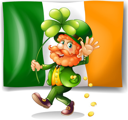 st  patrick day: Leprechaun and Irish flag illustration Illustration