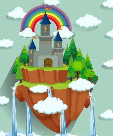 floating: Castle towers on the island illustration