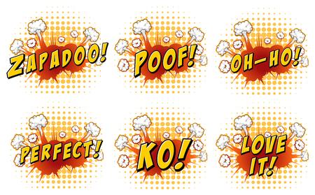 ko: Words design on cloud explosion illustration