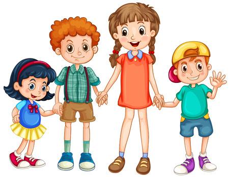 girls holding hands: Boys and girls holding hands illustration