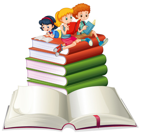 at leisure: Boy and girls reading books illustration Illustration