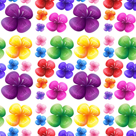 git: Seamless colorful flowers on white background illustration Illustration
