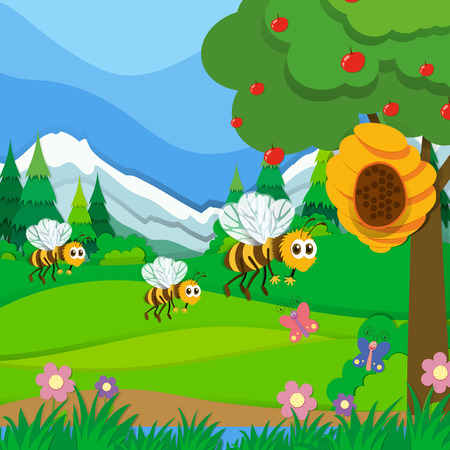 flower fields: Bees flying around the beehive in the park illustration